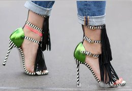 Wholesale Leather Sandals For Ladies - Summer 2017 new Tassel Style Sandals For Women Gladiator High Heel fringe sandals Sexy Stripped ladies Shoes Brand Designers