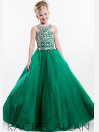 Flor verde vestido largo online-Vestido de bola Vestidos de desfile Chicas Corpiño de abalorios Tul Hunter Verde rojo Flor Vestidos para niñas Naranja Turquesa Largo