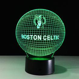 Wholesale Dropship Free - 2017 Boston Basketball 3D Illusion Night Lamp 3D Optical Lamp AA Battery DC 5V Wholesale Dropship Free Shipping