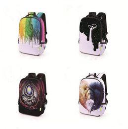 mochila de personaje mochila Rebajas 3D Skull Printing Backpack ForTeenage Boys Poliéster Bolsas escolares Mochila Estudiante Hombres Bolsas de viaje Mochilas escolares Mejores regalos 58 estilos