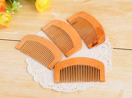 Wholesale Wooden Massage Hair Brush - Wooden Comb Natural Health Peach Wood Anti-static Health Care Beard Comb Pocket Combs Hairbrush Massager Hair Styling Tool