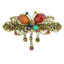 Wholesale Flowers Hair Style - Fashion Hair Jewelry Retro Style Anqitue Gold Leaf Flower Colorful Rhinestone Butterfly Hairgrips Hairwear For Women