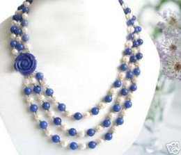 Wholesale lapis lazuli pearl necklace - FREE SHIPPING>>Wonderful! 7-8MM White Akoya Pearl & Lapis lazuli Beads Necklace Flower Clasp