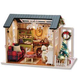 Wholesale Dolls House Lights - CUTEROOM DIY Wooden House Furniture Handcraft Miniature Box Kit with LED Light - Holiday Time Christmas Gifts Miniature DIY Doll House Model