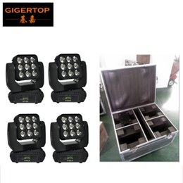 Wholesale auto moving - Flight Case 4in1 Pack 9X10W RGBW 4IN1 Led Beam Moving Wash Light Big Lens Audience Background Washer Light Auto Sound active DMX