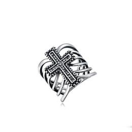Wholesale Stone Rings Designs Men - Rings For Men Women Crystal Rings European Celtic Platinum Cross Design Personalized Hip Hop Jewelry Wholesale