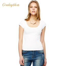 Wholesale Tight Thin T Shirts - Wholesale- Free Shipping Sexy low-cut summer short-sleeved t-shirt female Korean Slim was thin tight white T-shirt bottoming shirt M16046