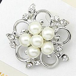 Wholesale Rhinestone Floral Pearl Brooch - Silver Alloy Pearl And Crystal Small Floral Wedding Brooch Hot Selling Exquisite Wedding Cake Pins Elegant Diamante Jewelry Broach