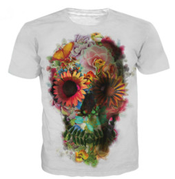 Wholesale Skull Womens Shirts - Newest Fashion Mens Womens Flora Skulls T-Shirt Summer Style Funny Unisex 3D Print Casual T-Shirt S---5XL AA428
