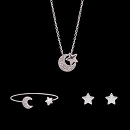Wholesale Eastern Star Necklace - 2017 Hot Women Fashion Bridal Crystal Moon Star Necklace Earring Bracelet Silver Plated Jewelry Set Wedding Pendant Jewellery