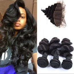 Wholesale Brazilian Loose Wave Closure - Loose Wave Human Hair with Closure Brazilian Unprocessed Virgin Hair with Lace Frontal 4 pcs lot FDSHINE HAIR