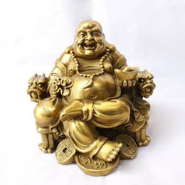 Wholesale Pur cuivre chaise Sit maitreya articles d ameublement rire Bouddha statue