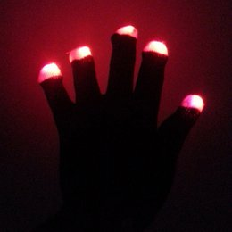 Wholesale Hot Warm Gloves - 7 9hg Hot Sale Creative LED Glowing Gloves Luminescence Glove Keep Warm Christmas Gifts Program Dance Show Party Decoration R