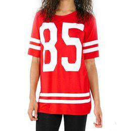 Wholesale Baseball Uniform Wholesale - Wholesale- Women Varsity Baseball Uniform Numbers 85 T-shirt Printing Youth Lady Long Summer Short Sleeve Tee Shirts SportsTops