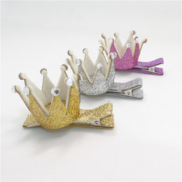 Wholesale Toddler Crown Tiara - 30pcs lot Glitter Crown Kid Hair Clip with Clear Rhinestone Baby Tiara Mini Hairpin Gold Silver Toddler Small Princess Barrette