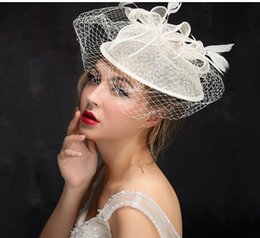 Wholesale Hat Retro Vintage - Vintage Retro Wedding Bridal Party Sinamay Hats 2017 , In Stock Free Shipping Church Hats ,Beige Color, 25 cm, High Quality