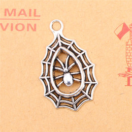 Wholesale Tibetan Silver Halloween Charms - 50pcs Tibetan Silver Plated spider cobweb halloween Charms Pendants for Jewelry Making DIY Handmade Craft 35*20mm