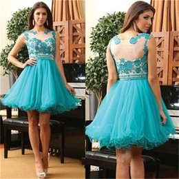 Wholesale Short Red Peacock Dress - Peacock Blue Lace Applique Short Prom Dresses Peplum Pearls Jewel Neck Sleeveless Homecoming Dresses Party Dresses