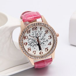 Wholesale Digital Analog Design - Luxury Design Women Tree Of Life rhinestone Diamonds watches fashion PU leather quartz casual wristwatches Dress ladies Famous watch new hot