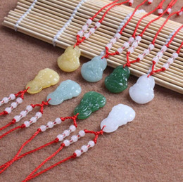 Wholesale Glass Easter Ornament - Good A++ Hot Pendant Jade Buddha Necklace Glass Ornament Red Rope Ornament WFN587 (with chain) mix order 20 pieces a lot