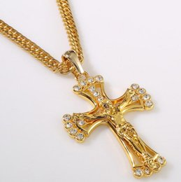 Wholesale Gold Hair Slide - Europe and the United States diamond diamond cross hair alloy necklace HIPHOP ornaments