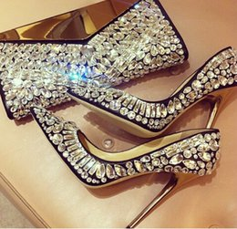 Wholesale Elegant Crystals Bridal Shoes - Elegant Bling Pumps Women Fashion Dress Shoes Woman High Heel Luxury Crystal Beaded Glitter Bridal Wedding Shoes for Women