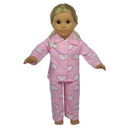 """Wholesale 18 American Doll Clothes Wholesale - Peach pajamas Toy xmas GIFT Handmade Doll Clothes For 18"""" American Girl Princess Bling Chirstmas present accessories"""