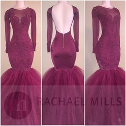 Wholesale Quality Formal Shirts - 2017 New High Quality Sexy Open Back Burgundy Black Prom Dresses Sheer Long Sleeve Jewel Neck Tulle Floor Length Mermaid Prom Formal Evening