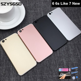 Wholesale Iphone Aluminum Back - Jet Black Aluminum Housing For iPhone 6 6s Like 7 Back Housing Metal Back Battery Door Cover Replacement to 7 style Matte Black