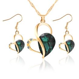 Damigelle d'onore set di gioielli online-Set di gioielli da damigella d'onore Collana con pendente di cristallo australiano da sposa Orecchini con set di gioielli da 18 k oro e Swarovski