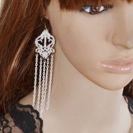 Wholesale Bridal Earrings Diamond Chandelier - Handmade Dangle Earrings White Lace Long Earrings Tassel Design Earrings Bridal Jewelry Black Gothic Drop Earring For Women Accessories