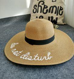 Wholesale Girls White Straw Hat - 2017 Fashion Straw Large Brim Letter Sequin Embroidery Hats Eugenia Kim Floppy Hat Girl Sunny Do Not Disturb Ladies Straw Boho Cap
