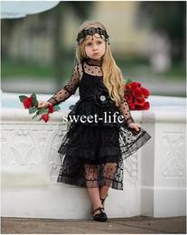 Wholesale Tea Length Ball Skirts - Sweety 2017 A line Flower Girls Dress High Collar Long sleeve Zipper Illusion Empire Tulle Tiered Skirts Tea Length Pageant Communion Dress