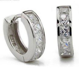 Wholesale Silver Clip Earrings Hoops - 3ct Swiss Diamond Earrings New Jewelry 925 Sterling Silver Earrings Hoop Ear Cuff Clips Mens Earrings Stud for Wedding Party