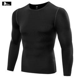 Wholesale Active Base - New 2017 autumn winter Men Pro basketball running Sweat Bodybulding Fitness Tight Base Layer Elastic Quick-drying Long-sleeve T-shirt B5019