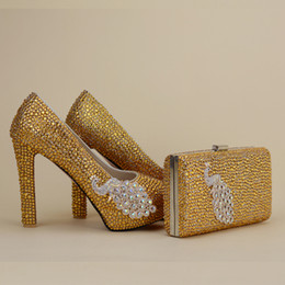 Wholesale Designers Wedding Bridal Shoes - 2017 Newest Designer Unique Phenix Decoration Gold Rhinestine Shoes With Matching Bag Party Proms Bridal Wedding High Heels Women Stiletto
