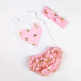 Wholesale Wholesale Birthday Bloomers - Wholesale- Messy Bow Baby Girls Heart Vest with Gold Polka Dot Knotted Headband Ruffle Bloomers Diaper Cover 3pcs Set First Birthday Outfit