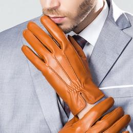 Wholesale Male Genuine Leather Gloves - Wholesale- YY8733 Man Genuine Leather Thin Thick Short Gloves Male Winter Embossed Stripe Warm Suede Mittens Driving Black Brown Gym Luvas