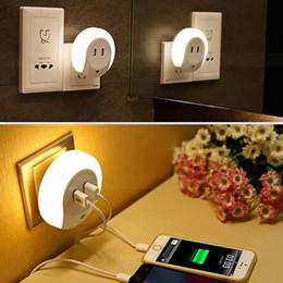 Wholesale Led Night Light Sensor Plug - Smart Design 0.5W Mini Dual USB LED Night Sensor Light Socket Wall Charger Sensor Lamp for bedroom EU   US Plug