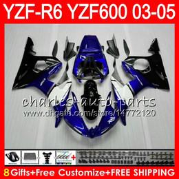 Wholesale Top Fairing R6 - 8Gifts 23Colors Body For YAMAHA YZF600 YZFR6 03 04 05 YZF-R600 56HM2 TOP blue black YZF R 6 YZF 600 YZF-R6 YZF R6 2003 2004 2005 Fairing kit