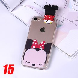 Wholesale Wholesale Phone Caes - For iPhone 6 6S 6Plus 7 7Plus 5 5S Phone Cute Panda Mickey Minnie Donald Daisy Duck Bear Judy 3D Cartoon Doll caes