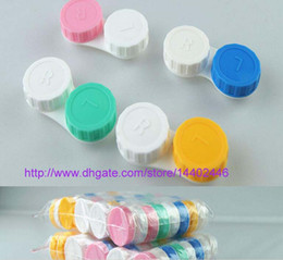 Wholesale Contact Lens Case Color - 100sets Candy Color Contact Lens Case lovely Colorful Dual Box Double Case Lens Soaking Case Free Shipping