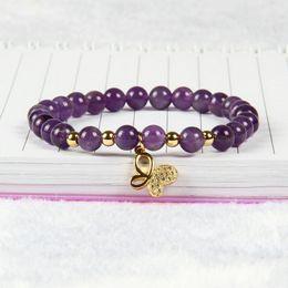 Wholesale Purple Butterfly Charm Bracelet - 10pcs lot 6mm Natural Purple Crystal Stone Beads with Clear Cz Butterfly Bracelet Fine Girl Women Charms Jewelry