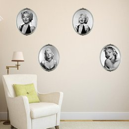 Wholesale photo adhesive decal - Marilyn Monroe Wall Stickers Wallpaper Photo Multipiece Retro Wall Mural Decals for Living Room and Girls Room Home Decoration