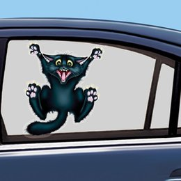 Wholesale Blue Pvc Glue - Cute Car Styling Funny Car Sticker 3D Crazy Cat Car Window Head Tail Decal Cool Wrap Auto Decoration Automobile Sticker