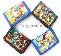 Wholesale 12 Coin Purses Wholesale - Wholesale -12 pcs Lot Toy Story folding Cartoon Wallets Children coin Purses Kids lovely Gift bags Hot sale Free Shipping