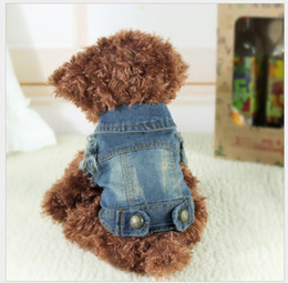 Wholesale Yellow Dog Clothes - Wholesale Clothes For Dogs Denim Dog vest Jacket Clothing Pet Puppy Cat Jeans Coat Dog Clothes For Teddy Poodle Chihuahua Puppy Dogs