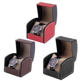 Wholesale Red Rectangle Ring - New Luxury Watch Box Display Case Gift Boxes Genuine Leather Watch Box with Pillow Watch Packaging For Bangle Ring Earrings hot