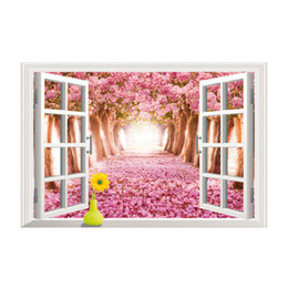 Wholesale Tree Window Art Decals - 3D Creative wall sticker beautiful floral cherry blossoms tree landscape wall living room window wallpaper waterproof home decor