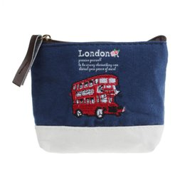 Wholesale Bus Bags - Wholesale- Mini Wallet For Women Purse London Bus Embroidered Admission Package Coin Card Holder Canvas Coin Purse Hand Bag Hot Sale